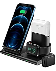 Wireless Charger, 3 in 1 Wireless Charging Station for iWatch SE/6/5/4/3/2, AirPods Pro/2, 7.5W Fast Charging Stand with QC 3.0 Adapter for iPhone 12/12 Mini/12 Pro Max/11 Pro Max/XS/XR/X/8/8P