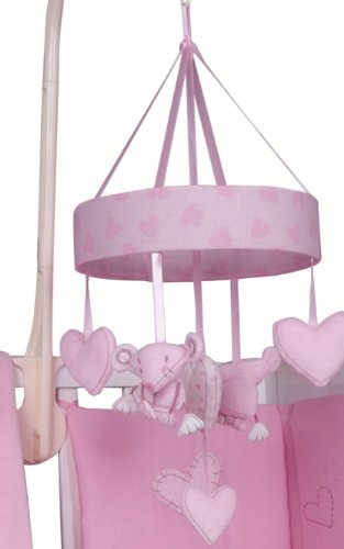 Pink Baby Mouse Hearts Nursery Cot Mobile Musical Soft Lullaby Generic