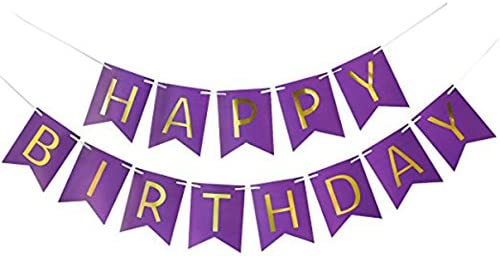 MAGQOO Purple Glitter Happy Birthday Banner Garland Kids Birthday Party Decorations Home Decor