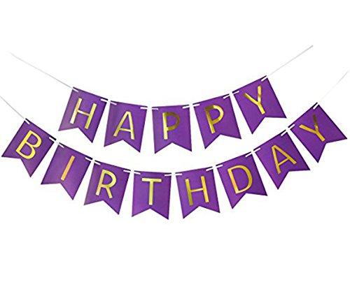 MAGQOO Purple Happy Birthday Banner, Purple Card Happy Birthday Banner, Golden Letters for Birthday Party (Purple) -