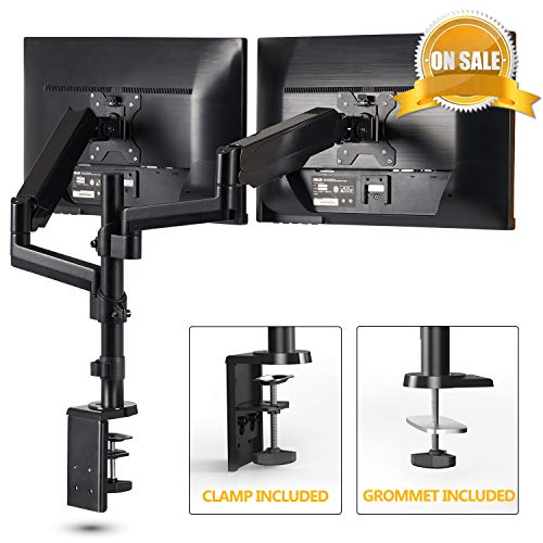 (Dual Arm Monitor Mount Stand-Fezibo Height Adjustable Mount with Gas Spring for 2 Screens from 17