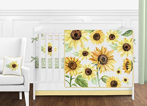 Sweet Jojo Designs Yellow, Green and White Floral Boho Watercolor Sunflower Baby Girl Nursery Crib Bedding Set with Bumper – 9 Pieces