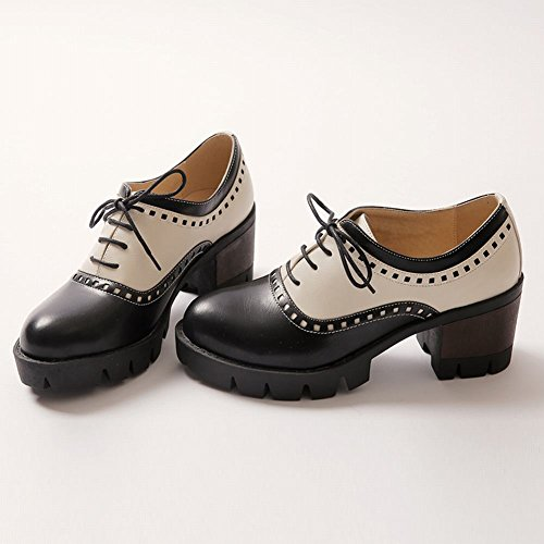 Charme Pied Femmes Vintage Lacets Chunky Talon Oxfords Chaussures Noir