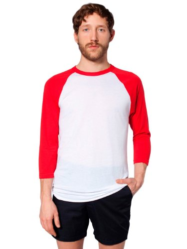 American Apparel Poly-Cotton 3/4 Sleeve Raglan Shirt - White / Red / S
