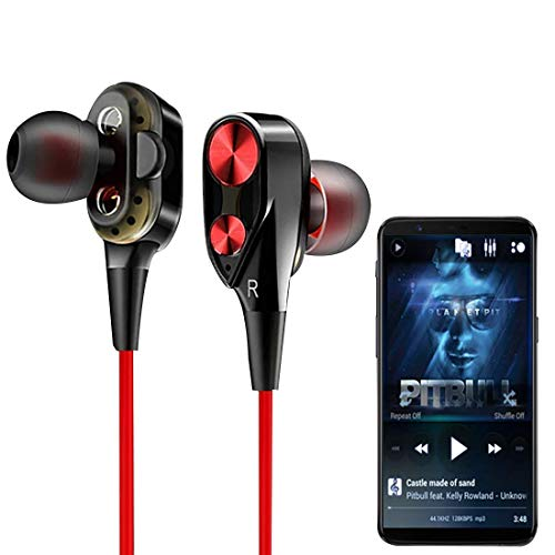 4D Dual Driver, in-Ear Gaming Wired Headphones with in-line Mic, Volume Control & Passive Noise Cancelling Boom 3 Earphones by Eazories