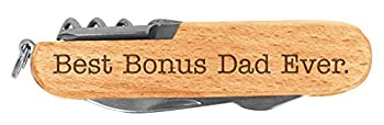 Fathers Day Gift Best Bonus Dad Ever Step Dad Laser Engraved Wood 6 Function Multitool Pocket Knife
