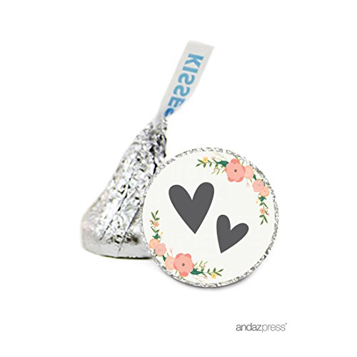 Andaz Press Chocolate Drop Labels Stickers Single, Wedding, Double Hearts Floral Roses, 216-Pack, for Hershey's Kisses Party Favors, Gifts, Decorations