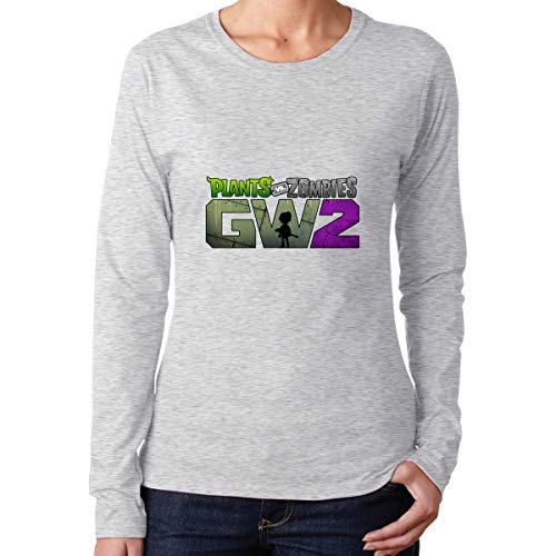 XMLNMALL Plants Vs Zombies Garden Warfare 2 Casual Long Sleeve Cotton Tee Gray (Plants Vs Zombies Save File 100 Complete)