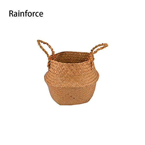 """Natural Seagrass Belly Basket Panier Storage Plant Pot Collapsible Nursery Laundry Tote Bag with Handles (11"""" (27x24cm)) …"""