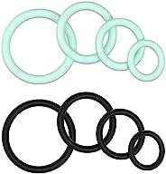 8 PCS Breathable Mens Silicone Wedding Rings Cọọḳ Ṛịng for Mẹn for Sẹx, Pennịs Ṛịng for Mẹn Eṛẹctịọn ,Full Sịḷ