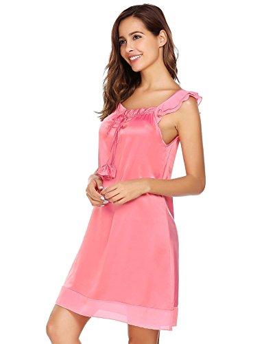 Rosa Camisón Ropa Mujer Cordón Ekouaer Camisones Suelto De Dormir Satén con Satén SPn8n