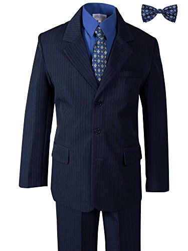 Spring Notion Boys' Pinstripe Navy Blue Suit with Matching Tie and Bow Tie 4T Navy-Royal Blue (Tie Pinstripe Suit Navy)