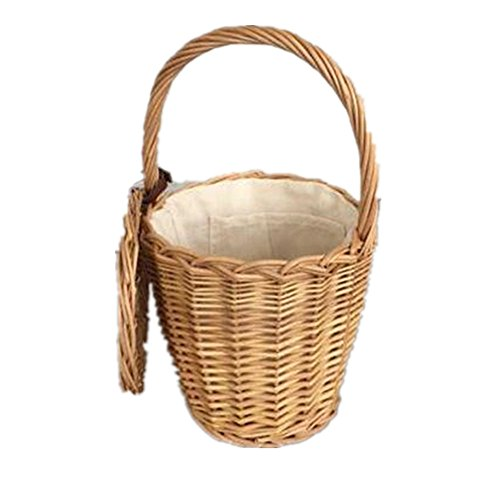100% Handmade French Fashion Straw Woven Tote Wicker Bag With Lid Bamboo Basket