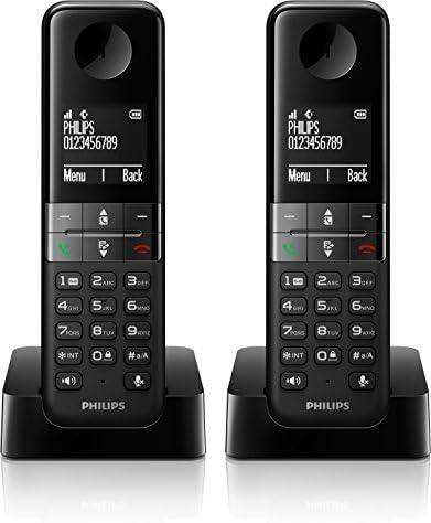 Philips D4502B/FR - Teléfono (Teléfono DECT, Altavoz, 50 entradas, Identificador de Llamadas, Negro): Amazon.es: Electrónica
