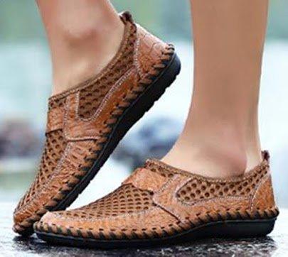 morbido scarpe marchio scarpe Slip pelle traspirante mesh confortevole Marrone uomo scarpe Bebete5858 On da estive slip in estate on vera casual uomo moda OqAwZWfU