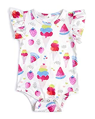 Uideazone Newborn Infant Toddler Baby Girls Boys Layette Bodysuit Short Sleeve Romper Jumpsuit Outfits 0-24 Months
