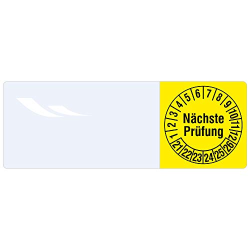 Labelident Kabelprüfplaketten 20 x 50 mm für Kabel-Ø 6,0 bis 12,0 mm - Nächste Prüfung - Vinylfolie