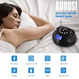 August SE20 - Mini Bluetooth MP3 Stereo System - Portable Radio with Powerful Bluetooth Speaker- FM Alarm Clock Radio with Card reader, USB and AUX in (Micro USB) - 2 x 3W Stereo Hi-Fi Speakers and Rechargeable Battery (Black) (Black) (Black)