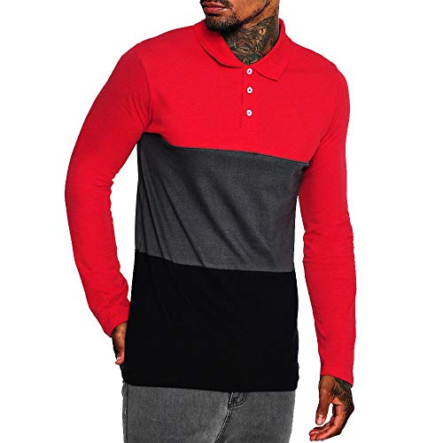 Musen Men Long Sleeve Polo Shirts Casual Cotton Color Block Rugby Polo T-Shirts Red-Grey-Black XXL