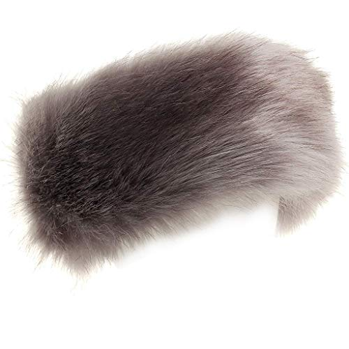 FAITH YN Faux Fur Headband with Elastic Stretch Women Fur Hat Winter Ear Warmer Earmuff Ski Cold Weather Caps [Grey]