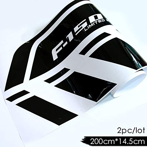 2 pcs Gradient Door Side Stripe Graphics Decal Car Sticker For Ford Raptor F150 SVT Ranger Car Styling Accessories - (Color Name: gloss black)