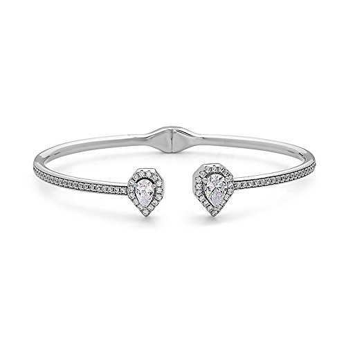 Crush & Fancy Pavè Crystal Bangle Bracelet | 925 Sterling Silver Bangle Bracelet with Crystals | Crystal Bangle with Teardrop Centers | Perfect for Stacking Bangles (CLEO) by Crush & Fancy (Image #1)