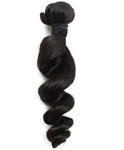 Rosette Hair 12-22inch Loose Wave Brazilian Virgin Remy Human Hair Weave Weft Unprocessed Natural Black Color Extensions 1 Bundles 95-100g/pc 100% Brazilian Human Hair Extension (1 Bundle (1 99 Costume)