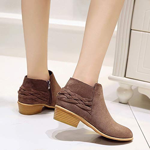 Womens Martin Ankle Shoes Solid Ladies Fashion Flock Brown Knitted Short Boots Bootie H1qHr6Y