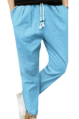 Zimaes Men Drawstring Bodysuits Trendy Work To Weekend Work Pants Sky Blue XL (Chino Weekend Pants Cropped)