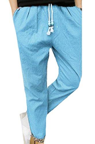 Zimaes Men Drawstring Bodysuits Trendy Work To Weekend Work Pants Sky Blue XL (Weekend Pants Chino Cropped)