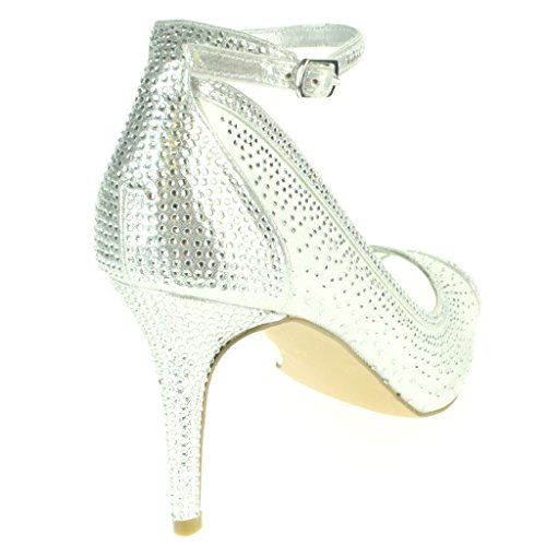 Mujer Señoras Malla Diamante Peep Toe Noche Nupcial Boda Fiesta Paseo Tacones altos Sandalias Zapatos Tamaño Plata