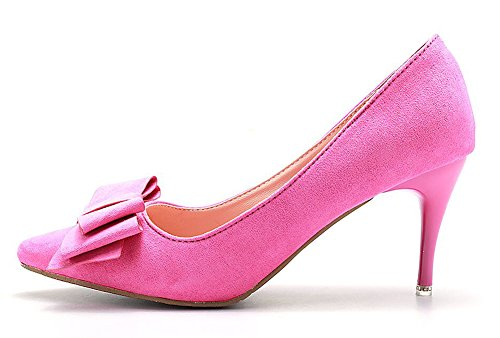 Easemax, Elegante Scollo Scamosciato In Pelle Scamosciata Con Punta Arrotondata, Scarpe Con Tacco Medio Basso, Rosa Rossa
