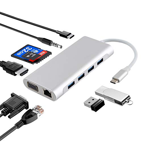 JIN Computer Accessory 11 in 1 VGA + LAN Port + 4 x USB 3.0 + SD/TF Card + HDMI + Audio Port + USB-C/Type-C Female to USB-C/Type-C HUB Adapter(Dark Gray) (Color : Silver) -  JIN-US, JIN-US