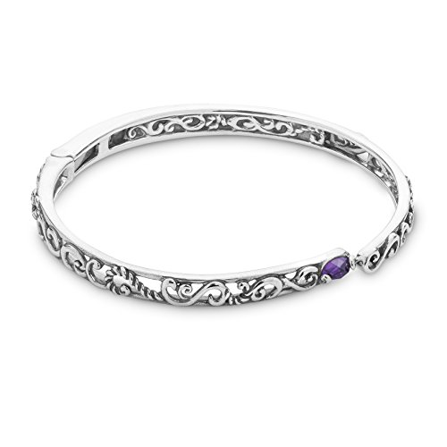 Carolyn Pollack Sterling Silver Purple Amethyst Gemstone Filigree Hinged Bracelet Size Small