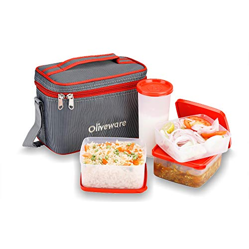 Oliveware Stylish Lunch Box   Red | 3 Containers  amp; Tumbler Glass