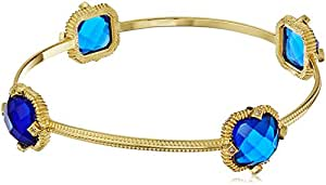 Gold-Tone Faceted Blue Glass and Cubic Zirconia Square Station Bangle Bracelet