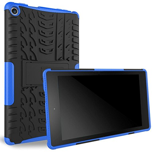 Price comparison product image For Amazon Kindle Fire HD 8 8inch (6th Gen,2016) Tablet ,Saingace Portable Carry Rubber Shockproof Hybrid Hard Case Cover Stand Holder (Blue)