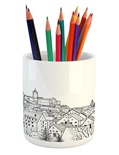 Cheap  Lunarable Sketchy Pencil Pen Holder, Aerial View of A Medieval City with..