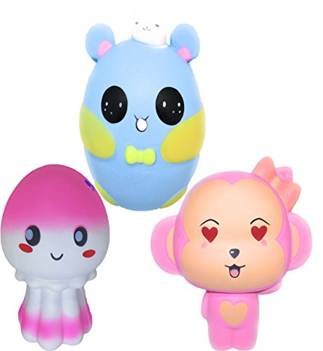 2TheT Jumbo Squishies 3 pack Cute Monkey Mouse Jellyfish Animals Squishies Slow Rising Squeeze Squishy Scented Charms Stress Relief Toys - Jumbo Monkey