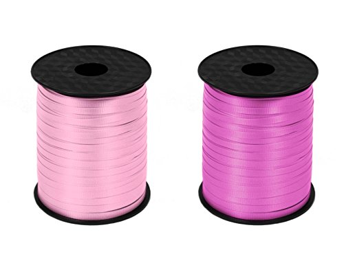 s 500yrds Curling Ribbon,Gift Wrapping, Balloon, Floral, Thank you, Decorative Ribbon (Light Pink + Fuchsia) ()