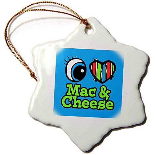 Price comparison product image Ditooms Bright Eye Heart I Love Mac and Cheese Snowflake Porcelain Ornament,  3-Inch