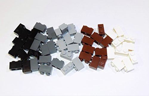 LEGO Parts and Pieces: Assorted 1x2 Bricks (Black, Dark Gray, Light Gray, Reddish Brown, White) - 50 Pieces (Lego Assorted Bricks)
