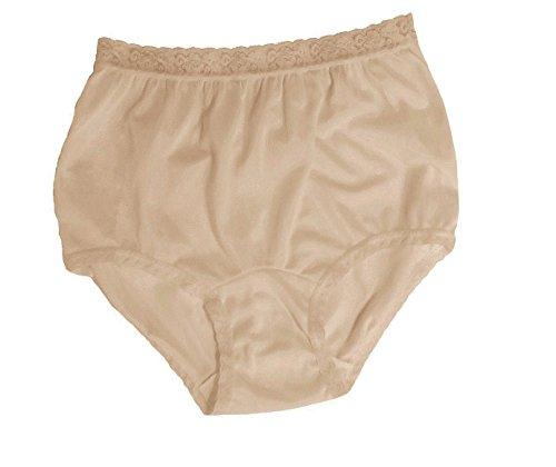 Women's Beige Nylon Lace Trim Panties Size 11 (3-Pack)