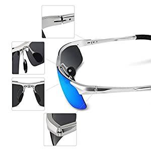 COSVER Men's Sports Style Polarized Sunglasses for Men Driving Cycling Running Fishing Golf Unbreakable Frame Metal Driver Glasses (Silver)