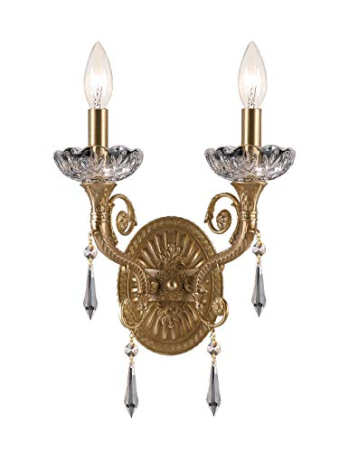 (Crystorama 5152-AG-CL-MWP Crystal Accents Two Light Sconces from Regal collection in Brassfinish, 6.50 inches)