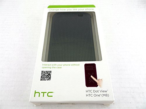 HTC Dot View Case Cover for HTC One M8 Phone Gray 99H11530-00