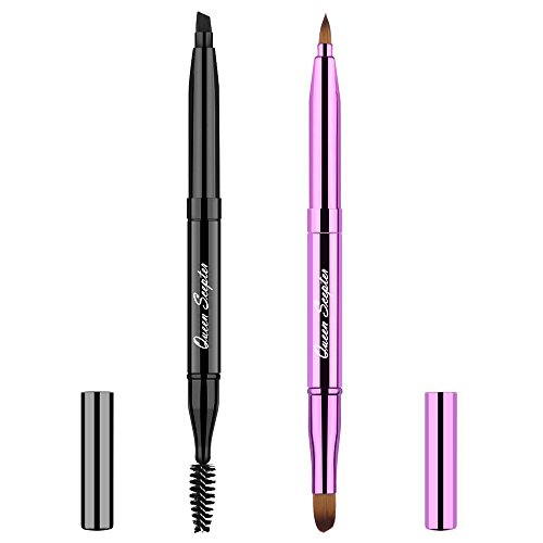 2 Pieces Retractable Eyebrow Lip Brush Soft Eyelash Makeup Brush Set With Cap Concealer Eyeliner Travel Cosmetic Brushes