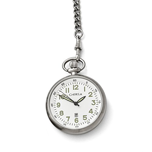Chisel Stainless Steel White Dial Pocket Watch by Chisel