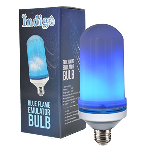 Indigo Led Flame Bulb - Flickering Light Bulb - Single Fire Effect - Outdoor Lights and Indoor Decoration - Original Blue Color Light - Environmentally Friendly - 5W/h - Lifespan of 50 000h - 1 Pack