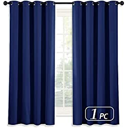 NICETOWN Royal Navy Blue Curtain 63 Inches Long - Home Decoration Light Blocking Room Dakening Drape/Drapery for Nursery Room, Ring Top, 52 inch Wide by 63 inch Long, 1 PCS